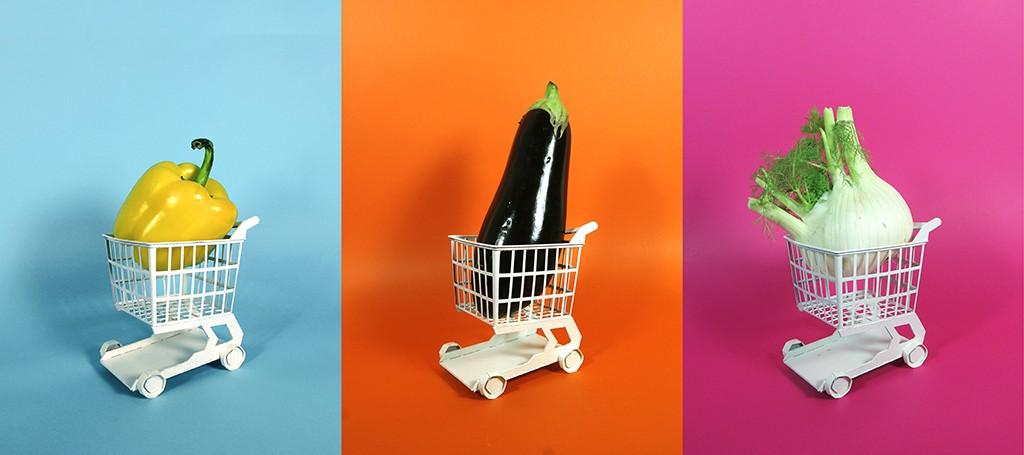 Légumes sur fonds colorés - 3e année Graphisme - Atelier J. De Backer